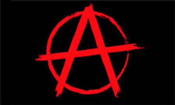Design of the Anarchy red on black 900x600mm Flag
