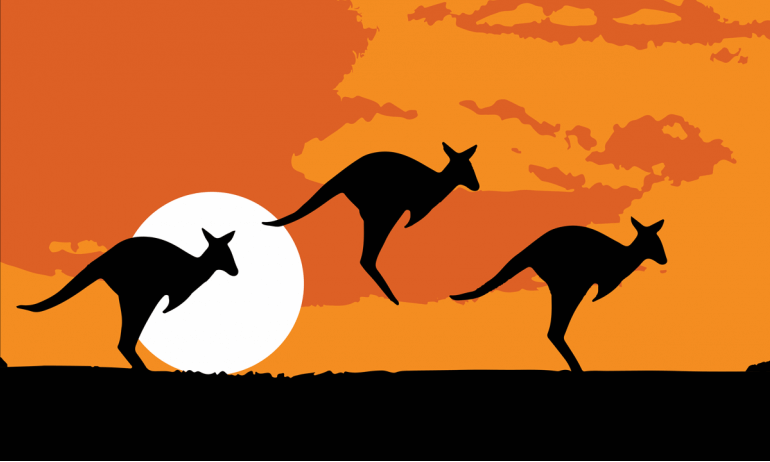 Design of the Australia Kangaroo Silhouette 1500x900mm Flag