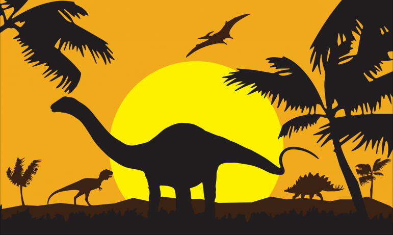 Design of the Dinosaur Silhouette 1500x900mm Flag