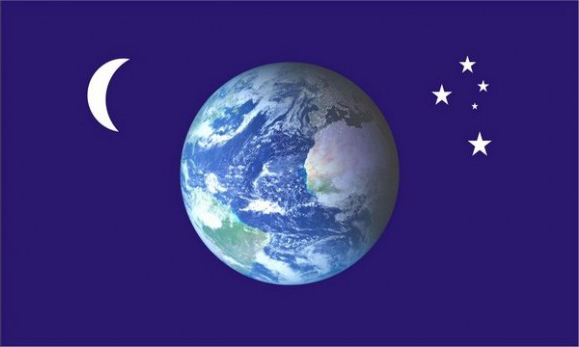 Design of the Earth Moon and Stars 1500x900mm Flag