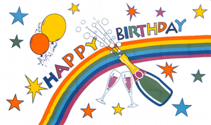 Design of the Happy Birthday Champagne Bottle 150x100mm Desk Flag