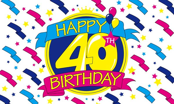 Design of the Happy Birthday 40 1500x900mm Flag