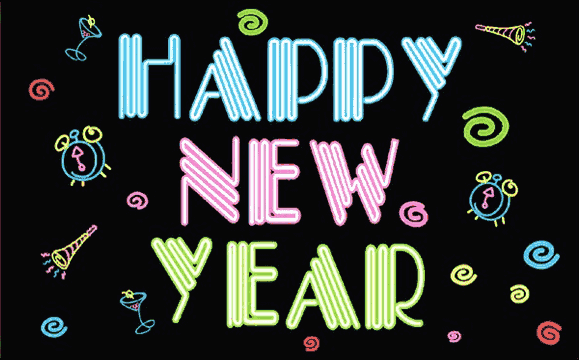 Design of the Happy New Year Neon 1500x900mm Flag