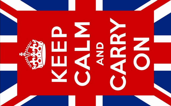 Flag image for Keep Calm and Carry On centered on Union Jack