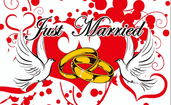 Design of the Just Married with Rings and Doves 150x100mm Desk Flag