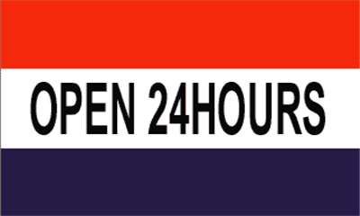 Design of the Open 24 Hours Red White Blue 1500x900mm Flag