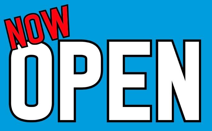 Design of the Now Open on Mid Blue 1500x900mm Flag