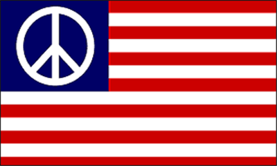 Design of the Peace Symbol On Usa Stripes 1500x900mm Flag
