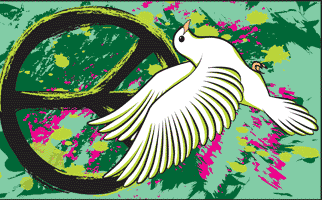 Design of the Peace Sign with Dove on Graffiti 1500x900mm Flag