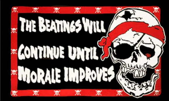 Design of the The Beatings Will Continue Until Moral Improves 1500x900mm Flag