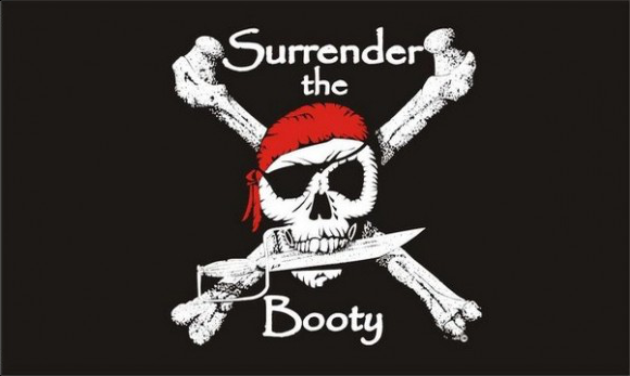 Design of the Pirate Surrender Booty 1500x900mm Flag