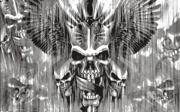 Flag image for Skulls and Sword all Grey
