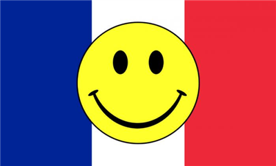 Design of the Smile Face Yellow On France 1500x900mm Flag