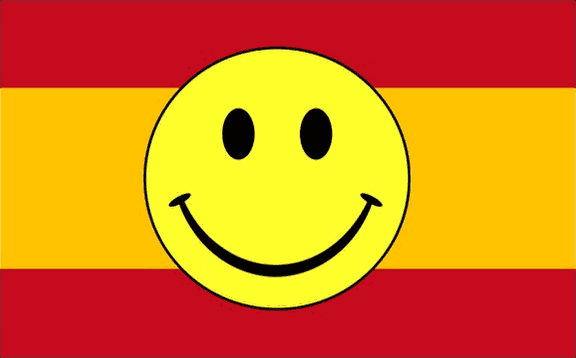Design of the Smile Face Yellow on Spain 1500x900mm Flag