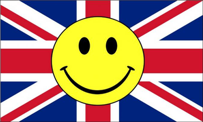 Design of the Smile Face Yellow On United Kingdom 1500x900mm Flag
