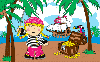 Design of the Treasure Island Girl 1500x900mm Flag