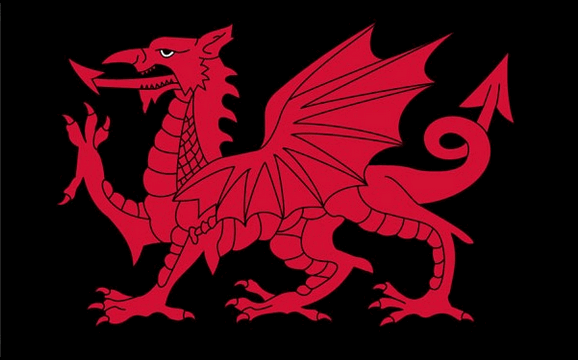 Design of the Wales Dragon on black 900x600mm Flag