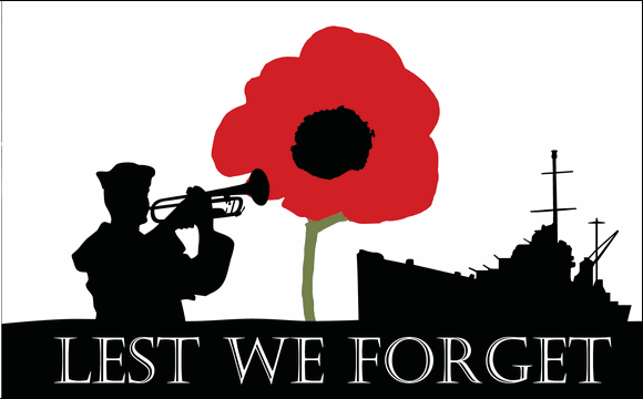 Design of the Lest We Forget Navy 1500x900mm Flag