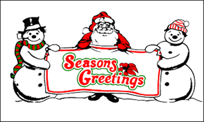 Design of the Seasons Greetings 1500x900mm Flag