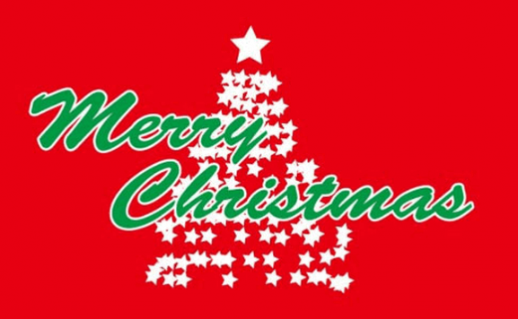 Design of the Merry Christmas in Green on Red Background 1500x900mm Flag