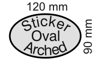 Sticker (decal) reflective oval (elliptical) with Arched flag 120 by 90 millimetres