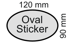 Australian sticker (decal) reflective oval (elliptical) 120 by 90 millimetres