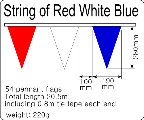 Detailed specification of String Flags Pennant Red White Blue