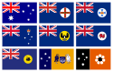 Set of 9 medium Flags Australia National and States