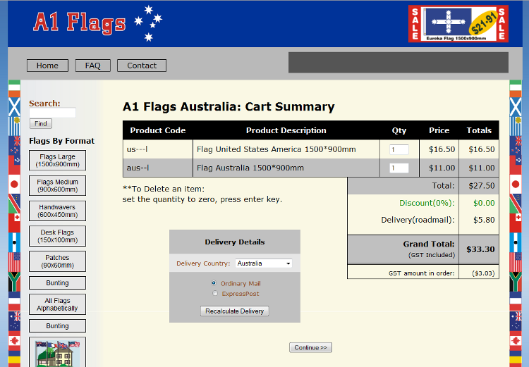 A1 Flags Cart Summary: shows the cart items with total costs, the delivery charges, discounts if any, GST included in cost and the grand total cost.