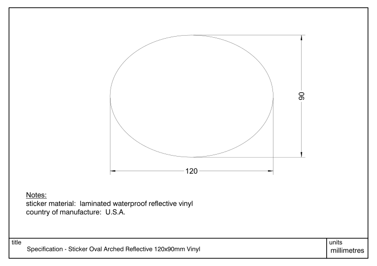 Diagram showing dimensions and specification of a Decal Oval Arched 120x90mm