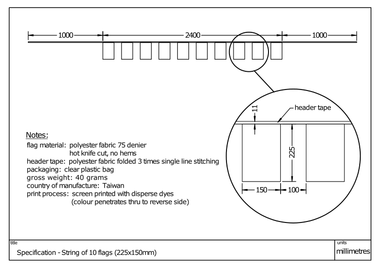 Diagram showing dimensions and specification of a String 10 230x150mm