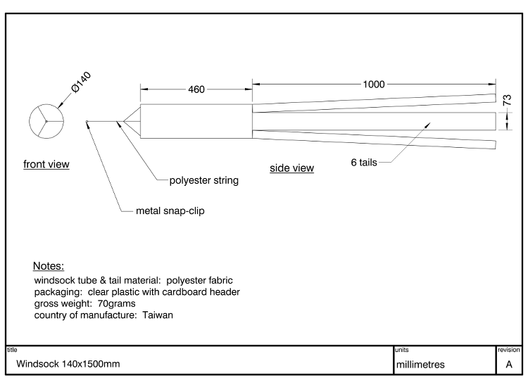Diagram showing dimensions and specification of a Windsock 1460mm