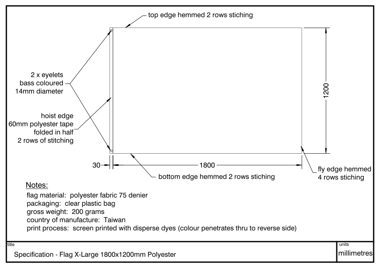 Diagram showing dimensions and specification of a Flag 1800x1200mm