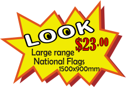 Message of Look large range of national flags 1500*900 only twenty two dollars, all on a a yellow splash.