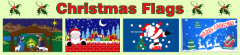 Christmas flags featuring: santa, reindeers, snow and chimneys.