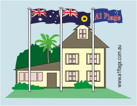 Protocol - One Australian flag with State and House Flags