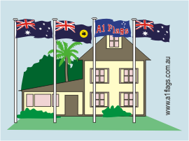 Protocol - Two Australian flags with State and House Flags